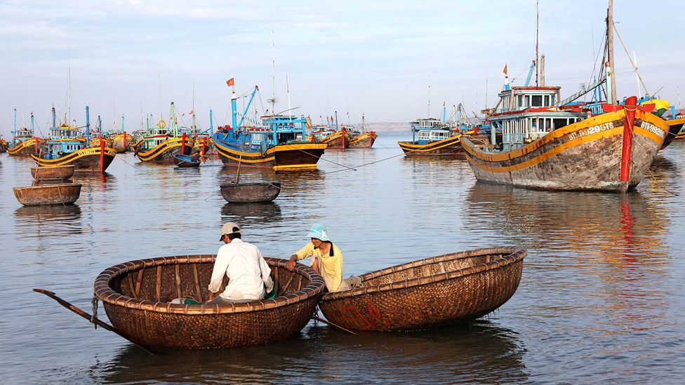 Locals fish in traditional woven boats called thuyền thúng (Credit: Martha de Jong-Lantink/Flickr)