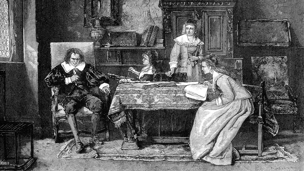 Milton is shown dictating Paradise Lost to his daughters in this engraving after a painting by Michael Munkacsy (Credit: Alamy)