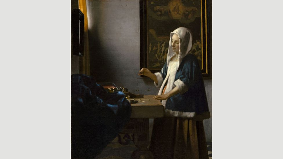 Vermeer's Woman with a Balance riffs on and improves elements of de Hooch's Woman Weighing Gold Coin (Credit: National Gallery of Washington)