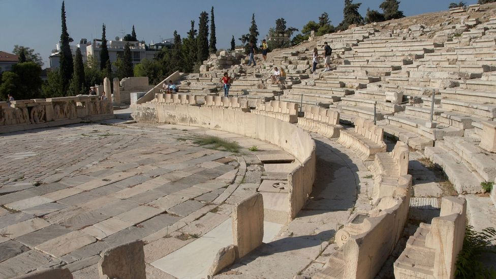 The Theatre of Dionysus, situated at the foot of the Acropolis, could accommodate up to 17,000 audience members and was considered to have perfect acoustics (Credit: Alamy)