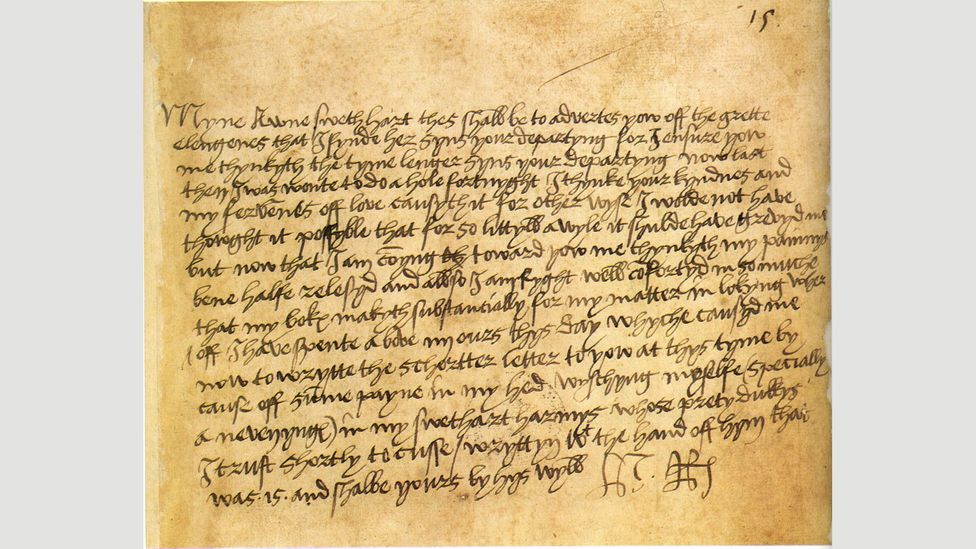 Much has been made of what a person's scrawl can reveal about their personality – Henry VIII's love letters to Anne Boleyn have been particularly scrutinised (Credit: Wikipedia)