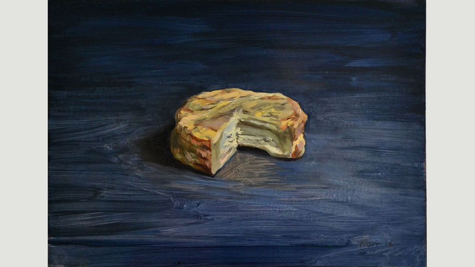 Christian Furr paints cheeses from oozing Epoisses to a solid Beemster against carefully chosen backgrounds (Credit: Christian Furr/Bridgeman Images)