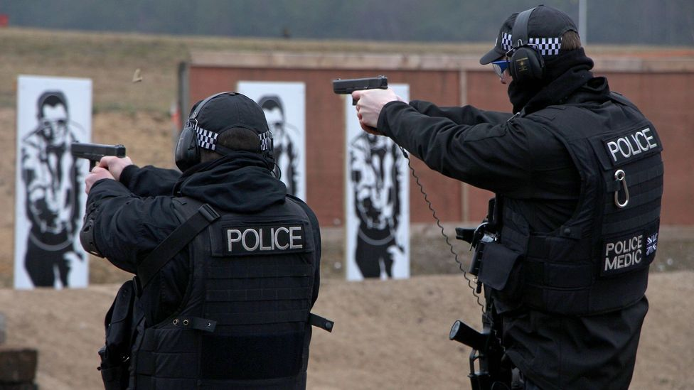 The UK's nuclear police undergo rigorous training and drills that aim to neutralise intruders to Britain's nuclear power stations (Credit: Chris Baraniuk)
