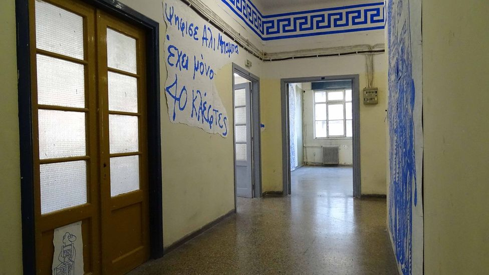 The drawings are arranged, under Landy's direction, throughout one floor of the empty Diplarios School (Credit: Stefanos Giannoulis/Neon)