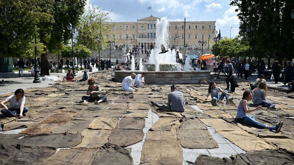 Several large-scale works are staged throughout the city for Documenta 14, including Ghanaian artist Ibrahim Mahama's Check Point Prosfygika in Syntagma Square (Credit: Getty)