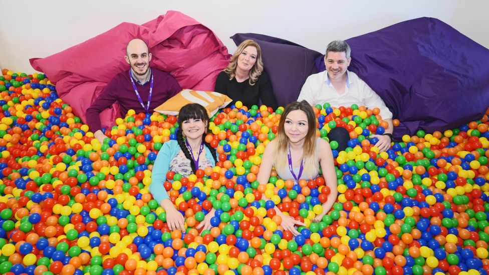 Staff at digital marketing agency Sleeping Giant Media hold meetings in a ballpit in an attempt to stimulate creativity (Credit: Jasmin Hayes/Sleeping Giant Media)