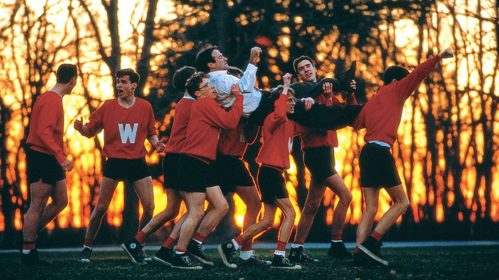 """Films like Dead Poets Society (pictured) """"give us a way of thinking about death which doesn't feel too confronting,"""" says Krznaric. """"There's a kind of filter"""" (Credit: Alamy)"""