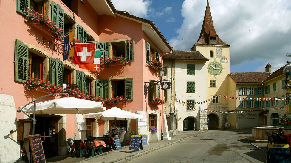 Bill and Marie-France met in a café in the medieval Old Town of Neuchâtel, Switzerland (Credit: MARKA/Alamy)