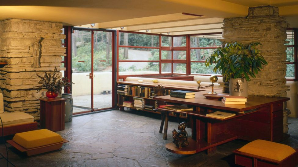 Much of the furniture in Fallingwater, such as this living room, was built into the structure so its interior design would remain fixed (Credit: Alamy)