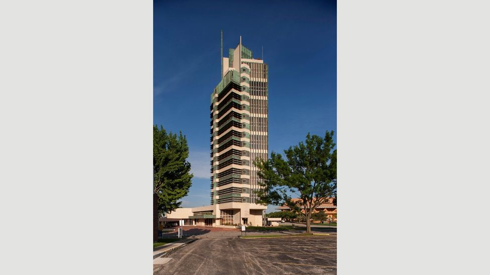 The Price Tower in Bartlesville, Oklahoma was, at 19 storeys, Wright's only skyscraper – his next tallest was the 14-floor Johnson Wax Tower in Racine, Wisconsin (Credit: Alamy)