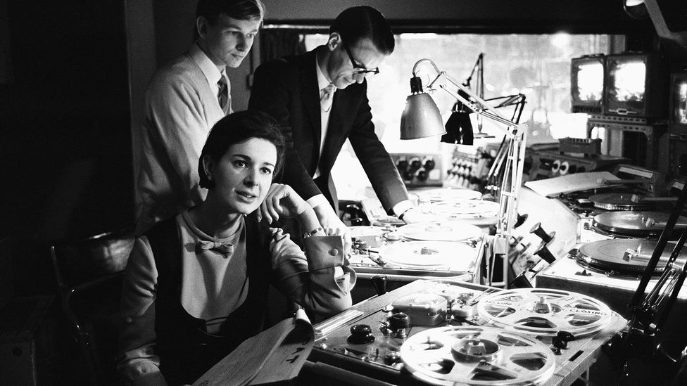Oram helped convince the BBC to set up the Radiophonic Workshop in 1958; the workshop is shown here five years later with Dr Who producer Verity Lambert (Credit: Alamy)