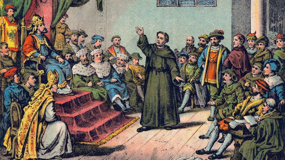 After Luther was excommunicated by the Catholic Church, he was called to defend his beliefs in front of the Holy Roman Emperor at the Diet of Worms in 1521 (Credit: Alamy)