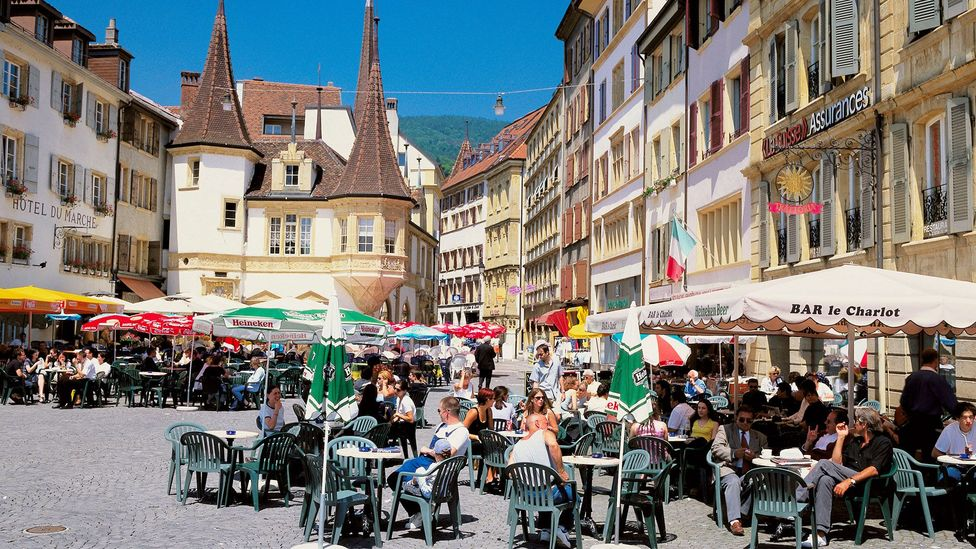 Bill and Marie-France met in a café in the medieval Old Town of Neuchâtel, Switzerland (Credit: Prisma by Dukas Presseagentur GmbH/Alamy)