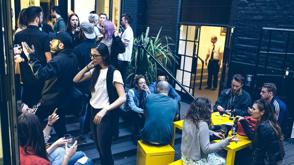 Workers gather for drinks at a co-working space run by The Office Group near London's Oxford Street (Credit: The Office Group)
