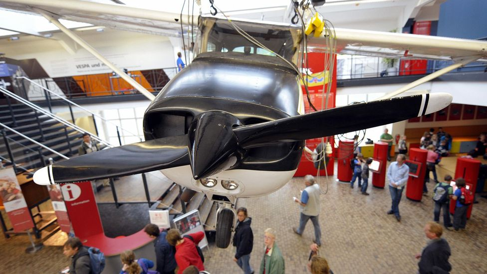 Rust's Cessna now hangs from the ceiling of a Berlin museum (Credit: Getty Images)