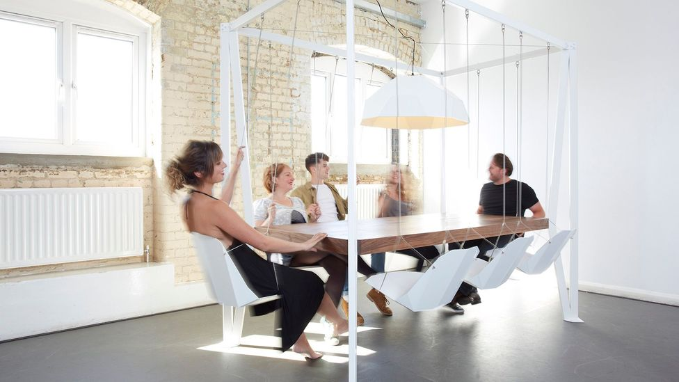 Only stuffy bores need legs and wheels on their office chairs – cool people have swings (Credit: Tom Oxley/Duffy London)