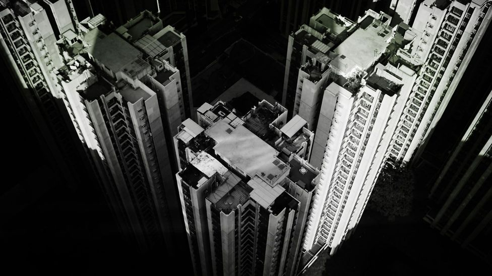 Researchers have begun monitoring how urban structures, like skyscrapers, physiologically affect citizens, their mental states, and moods. (Credit: Alamy Stock Photo)