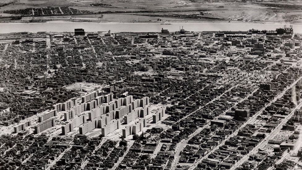 The design of the Pruitt-Igoe housing complexes in St Louis was criticised for alienating communities and stoking racial segregation. (Credit: Alamy Stock Photo)
