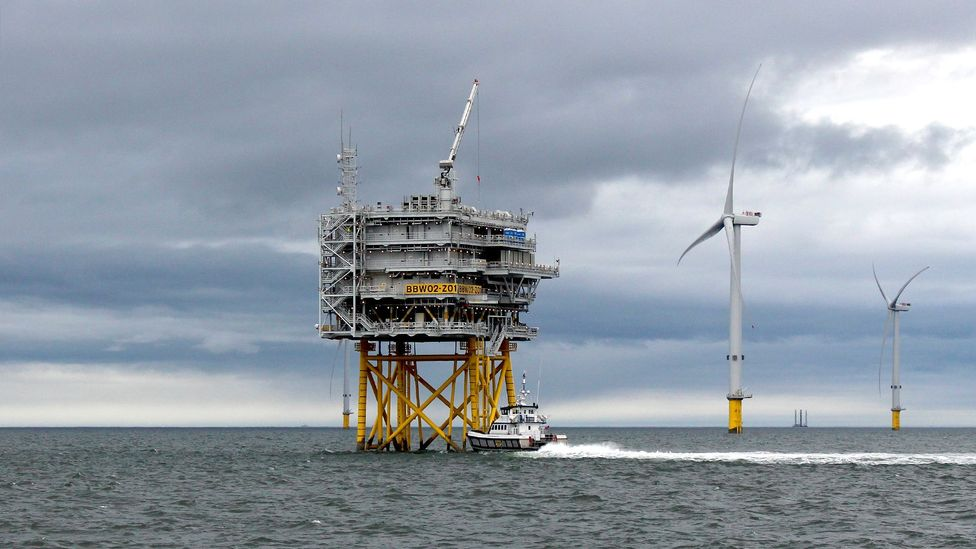 An offshore substation at Burbo Bank (Credit: Chris Baraniuk)