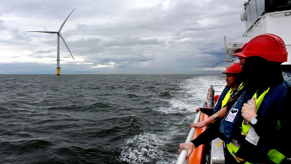 Because offshore wind turbines sit so far from land, maintenance can be difficult (Credit: Chris Baraniuk)