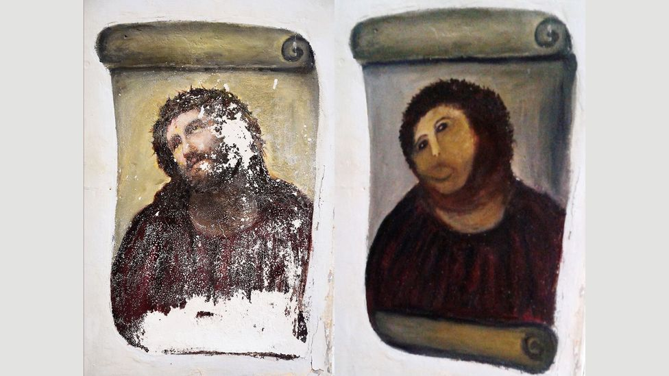 The botched restoration of the painting Ecce Homo, though mocked, has been far better known than the original version (Credit: Elías García Martínez/Cecilia Jimenez)