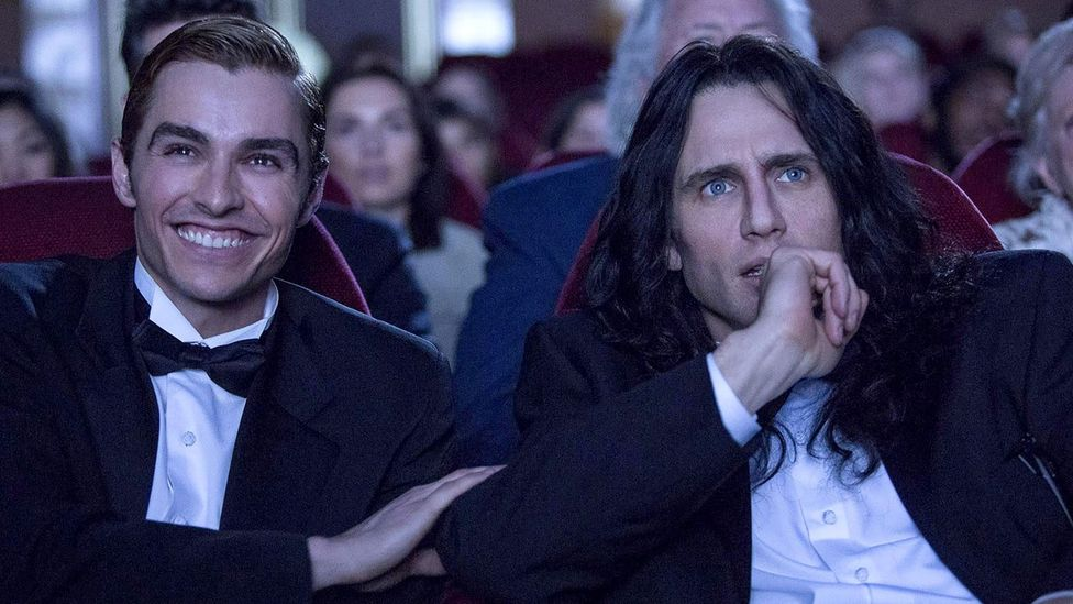 The fine line between a guilty pleasure and hate watching is epitomised by The Room, which has inspired a movie about how it became a cult smash, The Disaster Artist (Credit: A24)