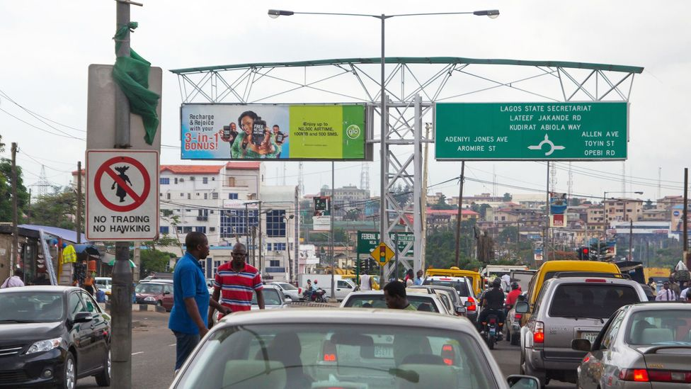A Nigerian 'go-slow', better known to British or American English speakers as a 'traffic jam' (Credit: Alamy)