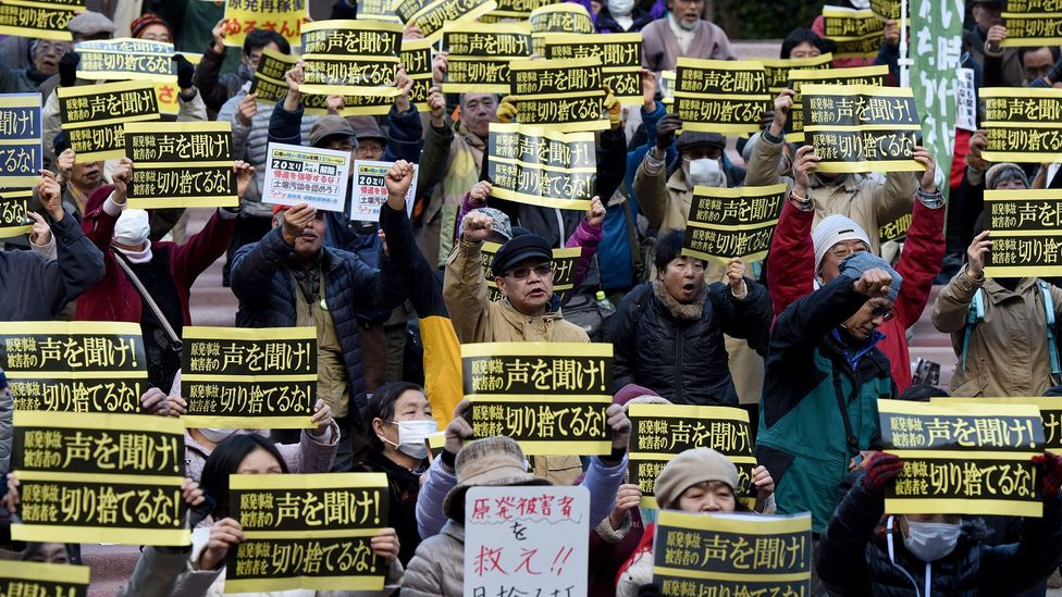 Over 800 protesters, including some Fukushima refugees, denounced nuclear energy at this demonstration in Tokyo in March 2016 (Credit: Getty Images)
