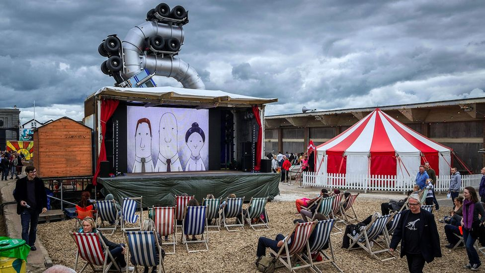 Banksy's 2015 creation Dismaland brought £20 million to Weston-super-Mare (Credit: Alamy)