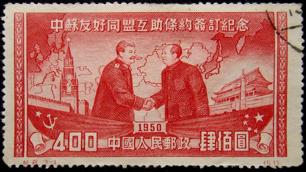 A Chinese postage stamp from 1950 commemorates the signing of the Sino-Soviet Treaty (Credit: Getty Images)