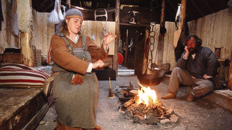 Costumed reenactors illustrate Viking life at L'Anse Aux Meadows (Credit: Parks Canada)