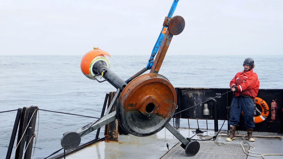 Due to the force of the flows, the recording instruments need to be tough (Credit: Roberto Gwiazda/MBARI)