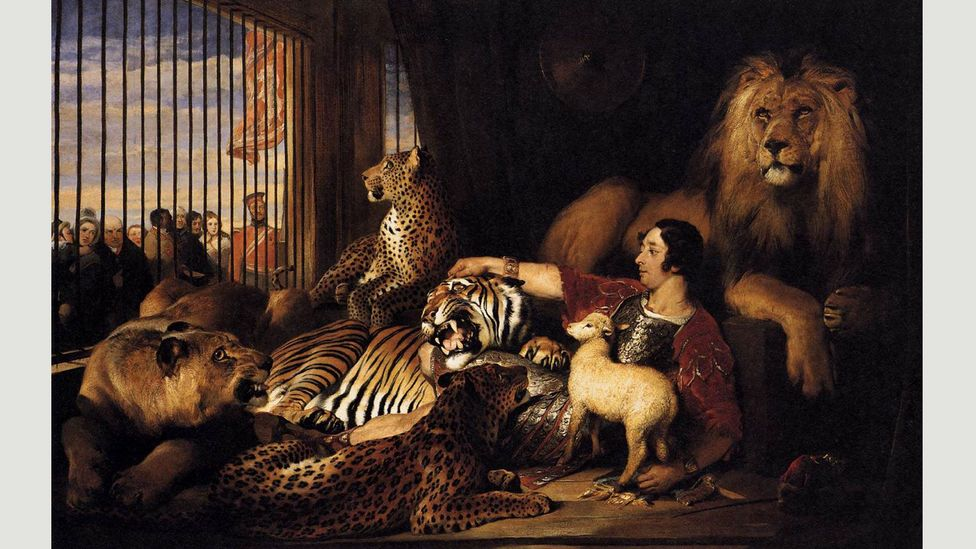 Queen Victoria commissioned Edwin Landseer to paint Isaac van Amburgh and his Animals in 1839 after seeing a lion-taming act (Credit: Wikimedia)