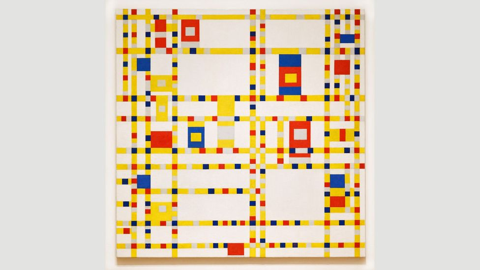 The playful Broadway Boogie Woogie, from 1943, can be seen as a top-down view of Manhattan's grid-like streets – its title indicates Mondrian's love of jazz (Credit: Alamy)