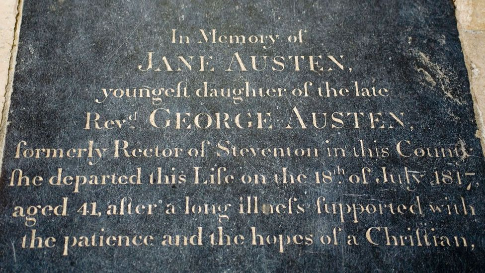 Jane Austen's grave in Winchester notes her long illness (Credit: Alamy)