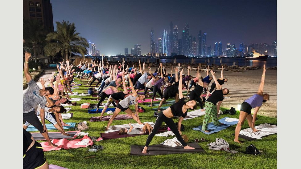 Full Moon Yoga at Fairmont The Palm Hotel, on the world's largest man-made island, shaped in the form of a palm tree, 17 September 2016 (Credit: Nick Hannes)