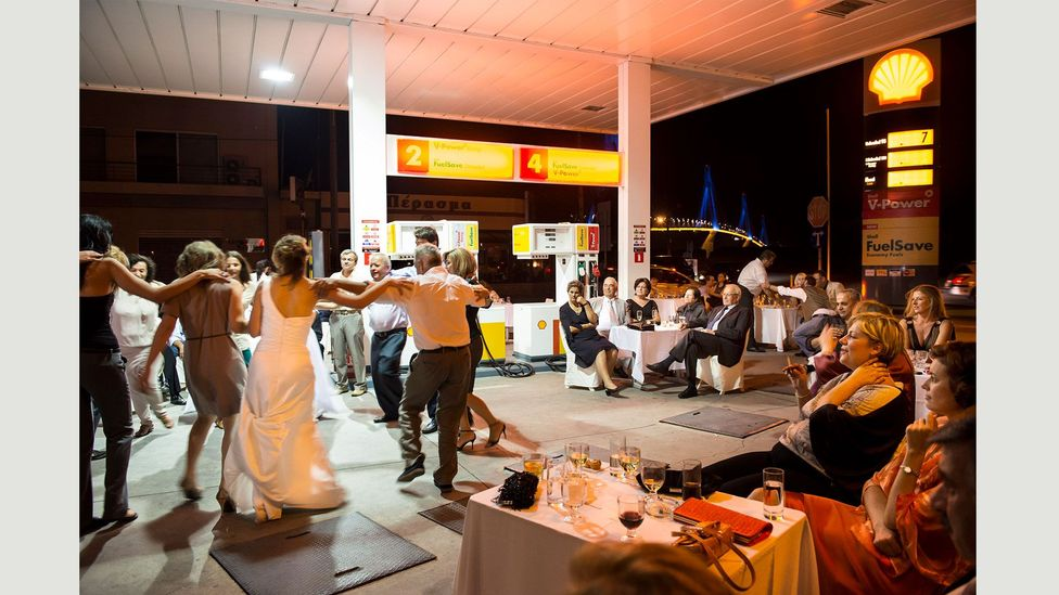 Gas station wedding, Rio, Greece [Mediterranean #16] (Credit: Nick Hannes)