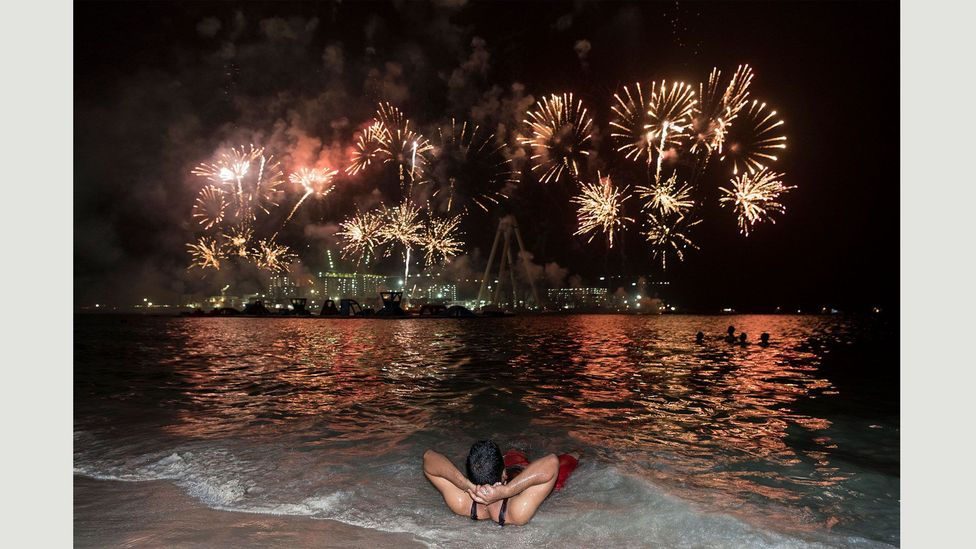 Eid al-Adha fireworks above the artificial Bluewaters Island, 14 September 2016