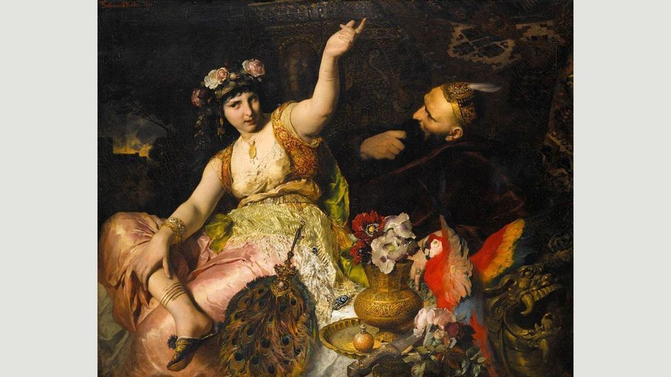 Scheherazade and Sultan Schariar (Keller, 1880) – in the famous story, Shahrzad (Scheherazade) wins over the murderous prince Shahryar (Credit: Wikimedia Commons)