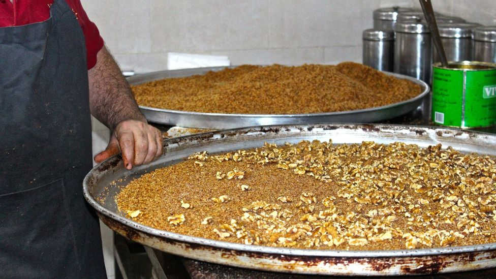 As Gaza has become more closed off, Knafa's flavours have become relatively unknown, even to other Palestinians (Credit: Miriam Berger)