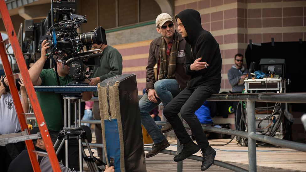 Christian Slater as 'Mr Robot' (left) and Rami Malek as Elliot (right) (Credit: USA Network)