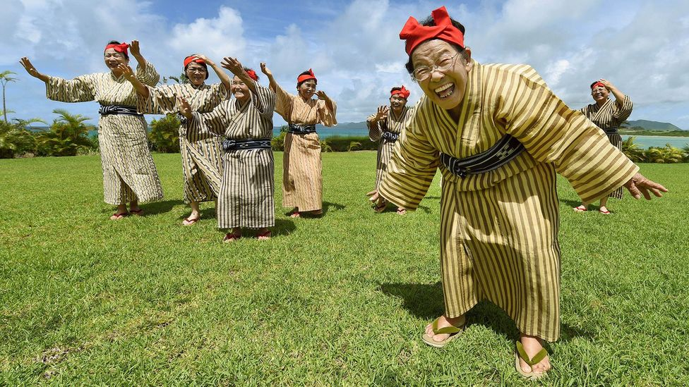 Pop idol grannies from KBG84 perform at a herb garden on Kohama Island, Okinawa Prefecture (Credit: Getty Images)