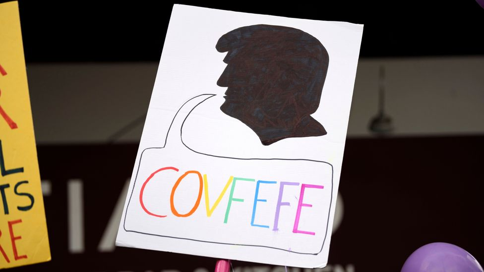 President Trump's now infamous 'covfefe' gaffe caused him to be the butt of many jokes and memes around the world (Credit: Getty Images)