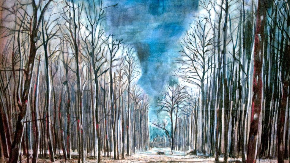 German artist Anselm Kiefer frequently depicted forbidding forests and woods in his paintings, such as in this detail from Resurrexit 1973 (Credit: Peter Horee/Alamy)