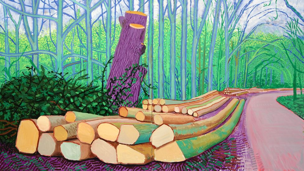 """""""Hockney makes quite common trees seethe with energy and brilliant, unexpected colour,"""" says author Fiona Stafford, as in Felled Trees on Woldgate from 2008 (Credit: Alamy)"""