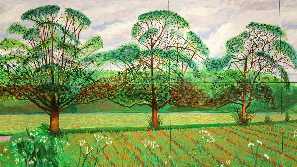 The woodland of David Hockney's native Yorkshire inspired his series of iPad drawings and paintings, including Three Trees near Thixendale from 2008 (Credit: Alamy)