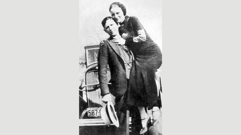 Clyde Barrow and Bonnie Parker carefully crafted their image, leaving behind staged photos for the police to find after they'd abandoned their hideouts (Credit: Alamy)