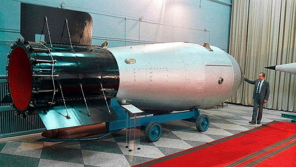 This mock-up of Tsar Bomba show's the weapon's enormous size (Credit: Science Photo Library)
