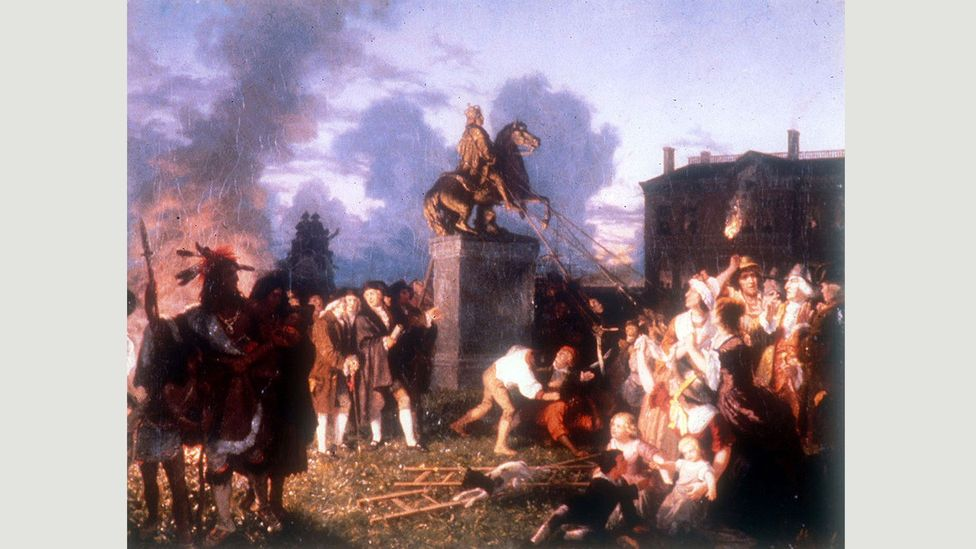Pulling Down the Statue of King George III, NYC (1859), was a romanticised depiction of an event in 1776 by Johannes Adam Simon Oertel (Credit: Wikimedia)
