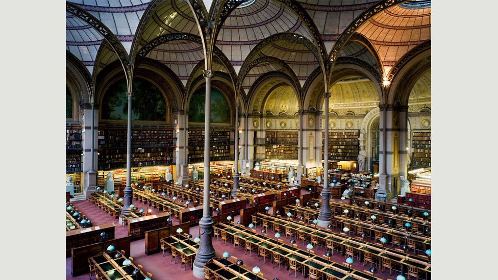 Candida Höfer was also a student of Bernd and Hill Becher – her photo of the Bibliothèque Nationale de France Paris is pictured (Credit: Candida Höfer)